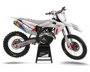 White Husqvarna Dirt Bike Graphics