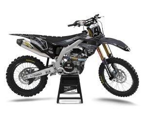 Black KX450F Carbon Motocross Graphics Kit