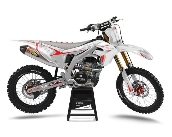 White Kawasaki Dirt Bike Graphics