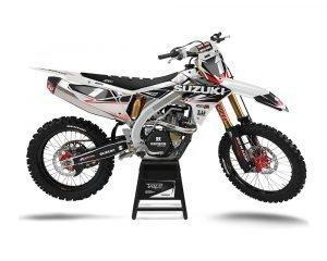 White Custom Suzuki Motocross Decal
