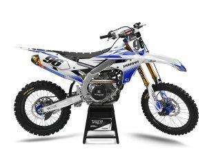 Custom White Blue Yamaha Decals